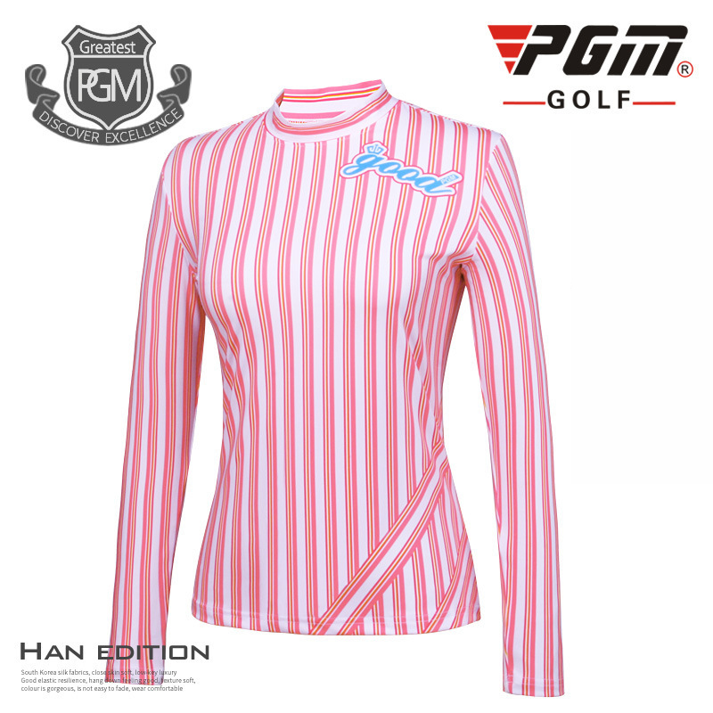 PGM Golf Full Shirts For Women Stripe Polyester Fall Anti Friction Top Elasticity Breathable Brand Womans Sports Shirts Cloths