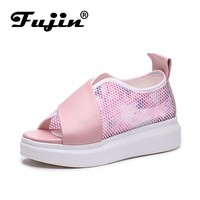 Fujin Brand 2018 Summer Shoes For Women Platform Sandals With High Heel Lady Leather Shoes Footwear