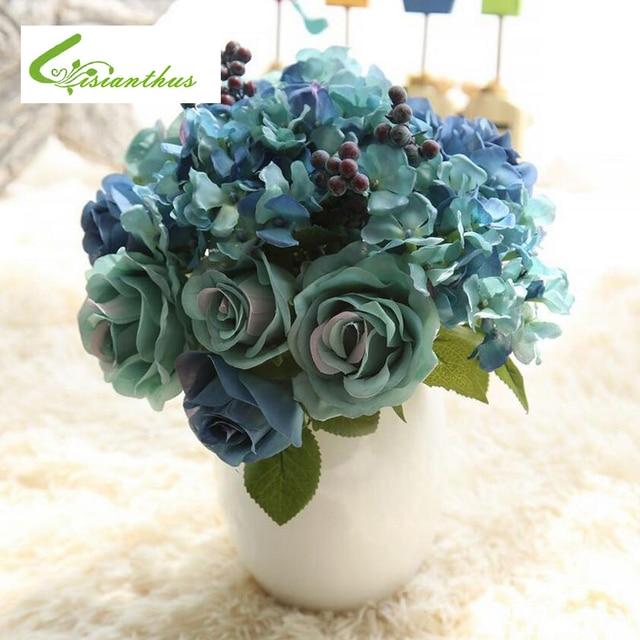 High Quality 2018 Spring Artificial Fake Blue Colors 8PCS Rose Flower Arrangement Home Table Room Poney