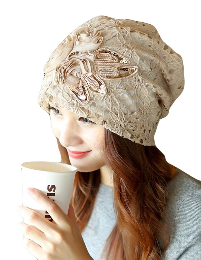 Fashion Flower Lace Beanies Hat Autumn and Winter Turban Beret Hats for Women Cap Skullies Beanies Hat Gorras Planas Touca 2017 new lace beanies hats for women skullies baggy cap autumn winter russia designer skullies