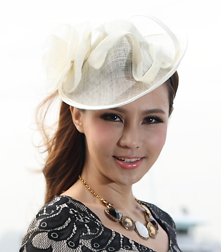 Free Shipping Hair Sinamay White Fascinators Hats Girl Hair Accessories Flower Girl Headpieces Wedding Headpiece Headwrap free shipping high quality 2015 mini disc flower sinamay fascinator with feather for race