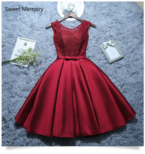 2020 Sweet Memory Satin Lace Wine Red Short White Evening Dresses Homecoming Graduation Dresses Robe Gray Party Formal Dress