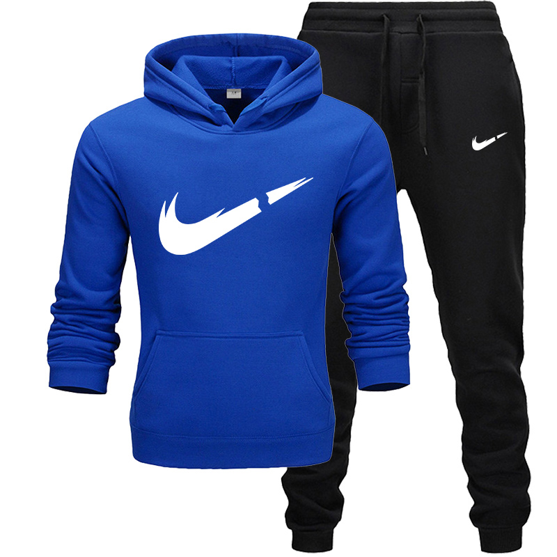 2019 Brand Tracksuit Fashion Pullover Men's Autumn And Winter Clothing Two Piece Sets Fleece Hoodie+Pants Men's Sweatshirts Suit