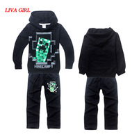 Child Boys Pure Black Cotton Hoodies And Pants Minecraft Christmas Costume Clothes For Kids Age 4
