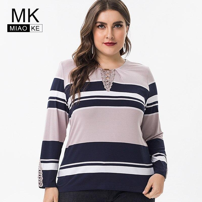 Miaoke 2019 Primavera senhoras Plus Size tops e blusas de Algodão Da Listra das mulheres Vestuário de Moda tamanho grande elegantes feminino Camisetas