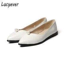 Lucyever Damenmode Friesen Echtem Leder Loafer Schuhe Sexy Perle Flach Spitz Wohnungen Frau Beleg Auf Bequeme Schuhe