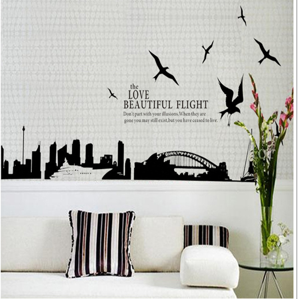2017 New Design Sydney Opera House City Silhouette Home Decoration Wall Stickers Living Room Sofa Wall