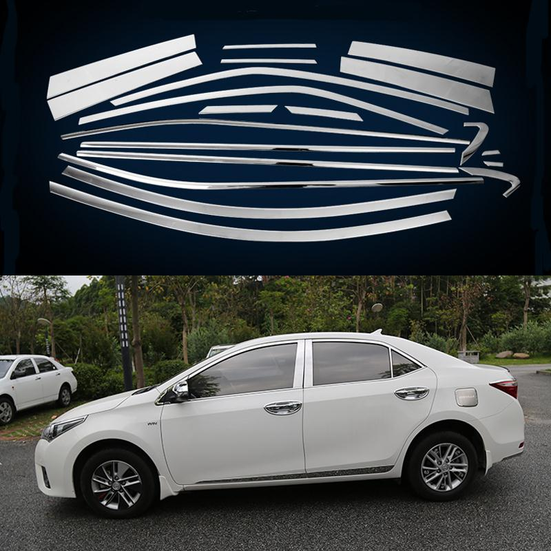 20Pcs/Set Car Styling Full Window Trim Decoration Strip For America Toyota Corolla 2014 2015 2016 Accessories Stainless Steel high quality stainless steel car window trim strip 16pcs for 2010 livina 5dr