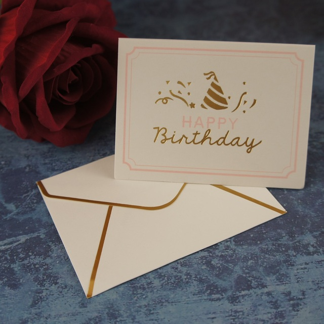 25pcs happy birthday gold fold card leave message cards lucky love 25pcs happy birthday gold fold card leave message cards lucky love party invitation letter envelope stopboris Images