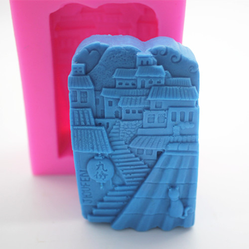 DIY town Building handmade mold DIY Clay Casting Mould Cement Ceramic Craft Making molds ...