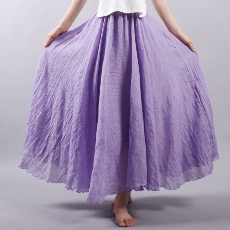 Sherhure 19 Women Linen Cotton Long Skirts Elastic Waist Pleated Maxi Skirts Beach Boho Vintage Summer Skirts Faldas Saia 31