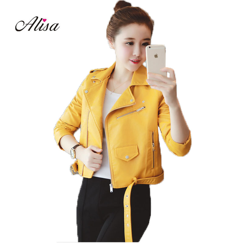 2018 Spring Autumn Punk Style Women Biker Jacket Ladies Yellow Pink   Leather   Jacket Female Slim Short Motorcycle   Leather   Coats