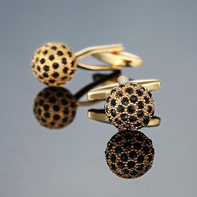 Novelty Luxury Blue white Cufflinks for Mens  Brand High Quality crown Crystal gold silver Cufflinks Shirt Cuff Links 3