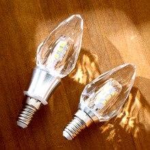 LED crystal Candle light bulb 5w 7W C35 warm white glass 220