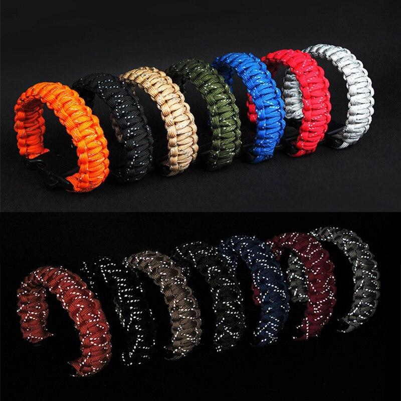 24.5cm/28cm Nine Core Reflective EDC Survival Saving Bracelet With Whistle Paracord Escape Emergency Glowing Plaited Rope