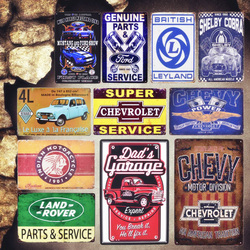 Dad's Garage Vintage Metal Tin Signs Leyland Decorative Plates Parts Service Wall Stickers Motorcycle Poster Home Decor MN72