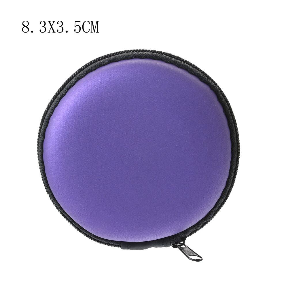 Чехол-контейнер для монет, наушников, защитная коробка для хранения, цветные наушники чехол для путешествий, сумка для хранения наушников, кабель для передачи данных, зарядное устройство - Цвет: Purple Round 8cm