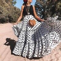 a0381809c37dd5 Polka Dot Print Maxi Skirt Women Fashion Layered Skirts 2019 High Waist  Summer Long Pleated Skirt