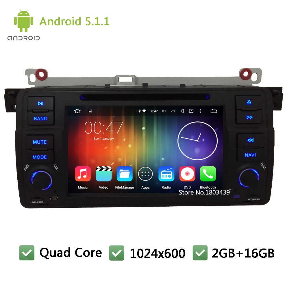 Quad core 1Din Android 5.1.1 7″ 1024*600 Car DVD Player Radio Audio PC Stereo Screen GPS For BMW 3 Series E46 M3 Rover 75 MG ZT