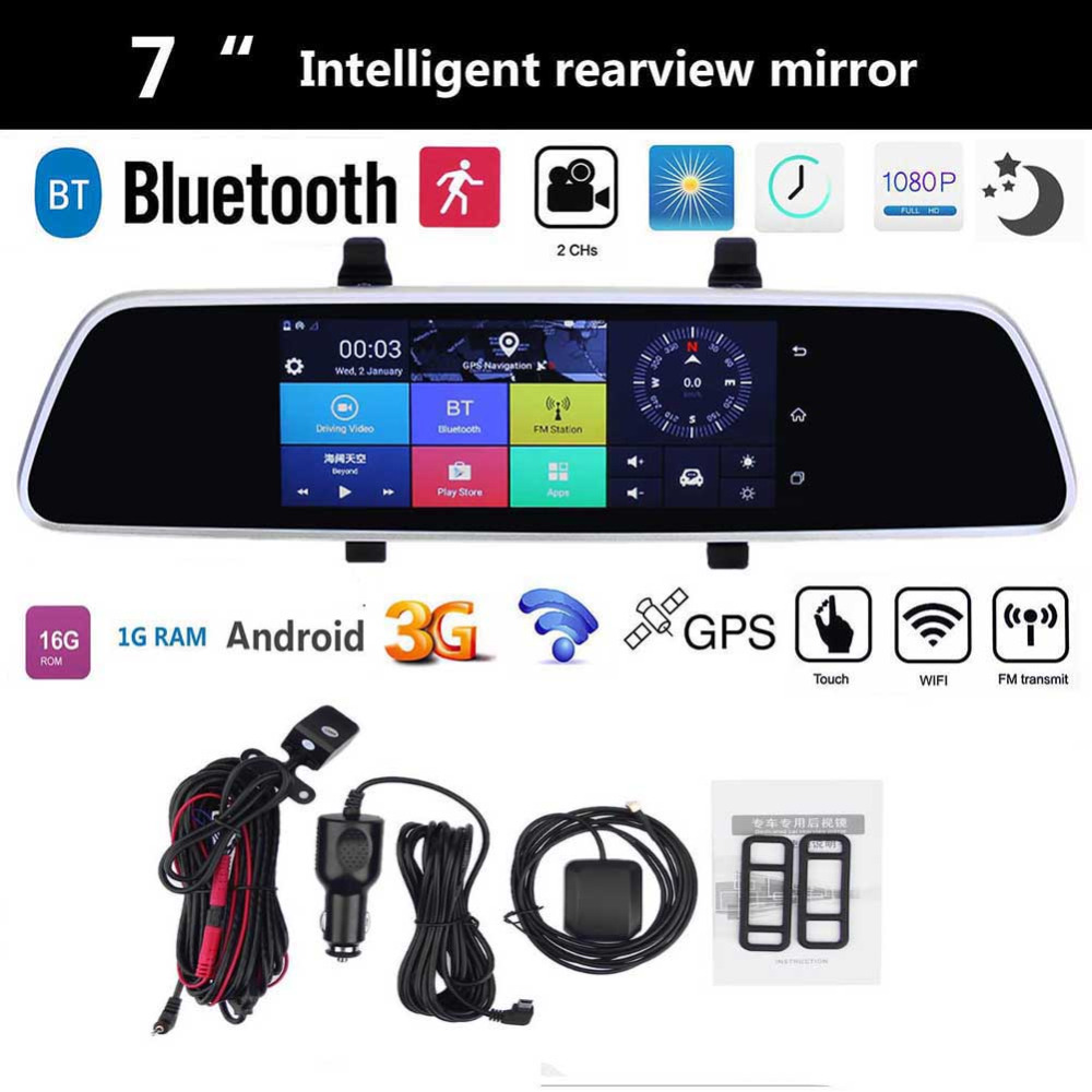 VODOOL 7 pouce Voiture DVR Bluetooth Android 5.0 Dvr WIFI GPS 1080 p Enregistreur Vidéo Caméra 16g 1g double Lentille Arrière Vue Dvr Dash Cam