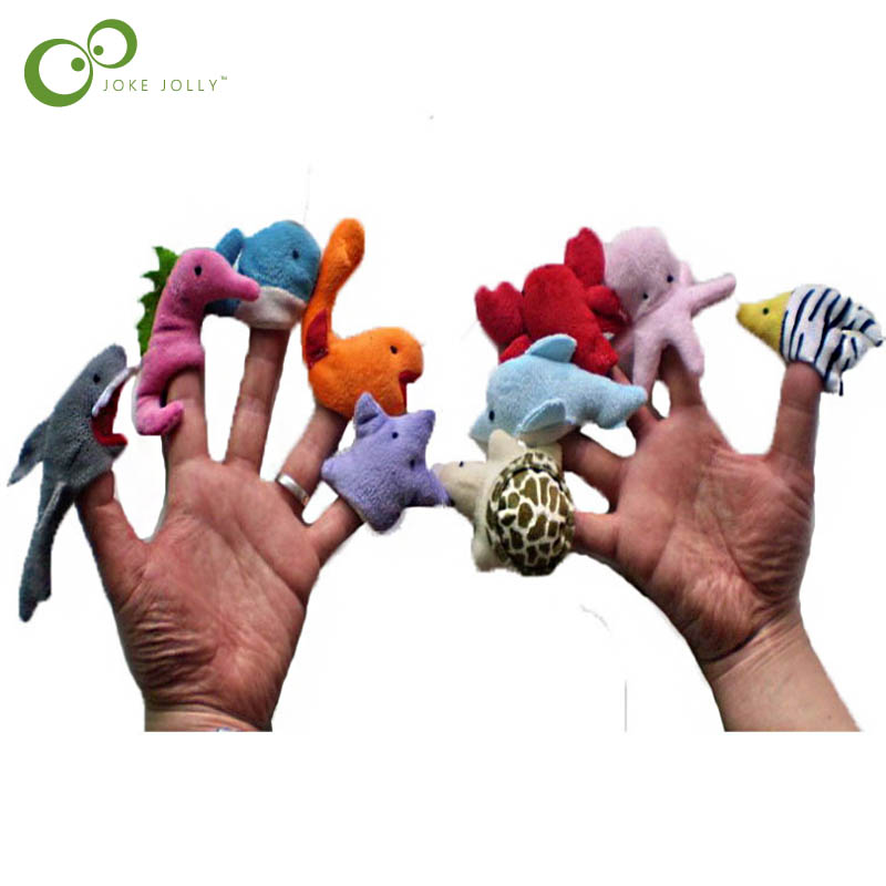 Toys & Hobbies Dolls & Stuffed Toys 10pc/lot Marine Animals Finger Puppets Dolphin Octopus Whale Shark Sealion Lobster Seahorse Sea Turtle Zebra Fish Wyq