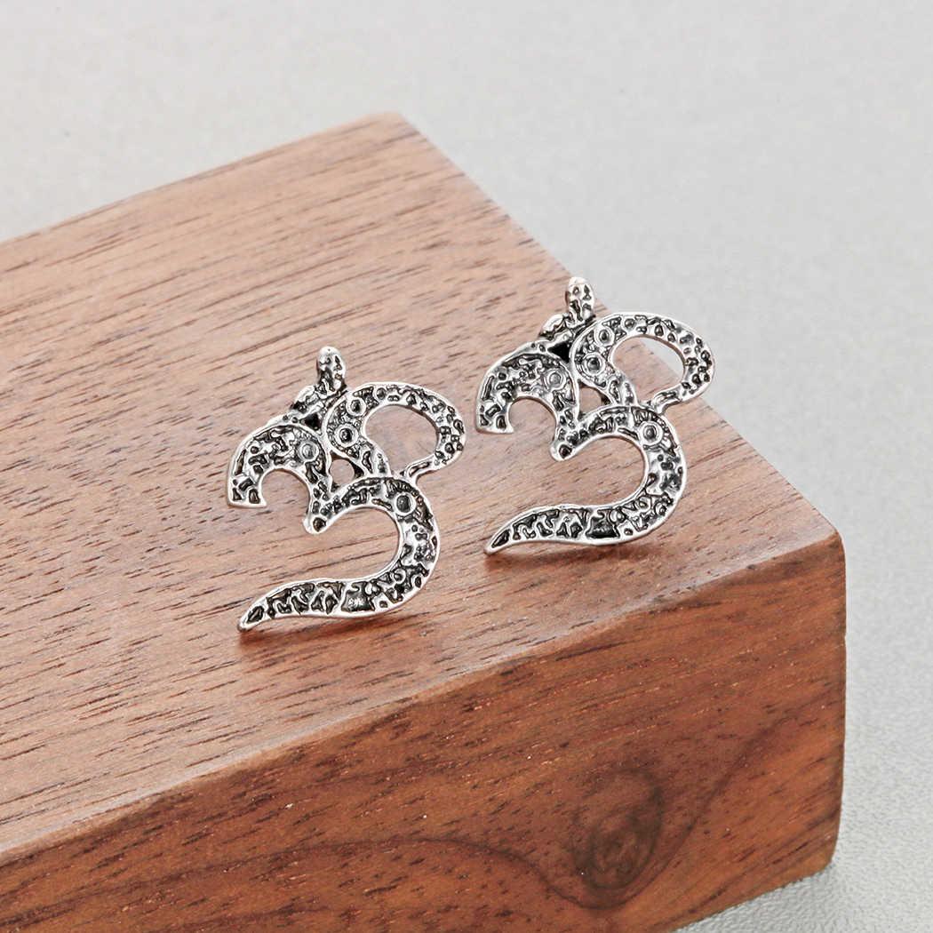 Череда медвежьи когти Античный серебряные Viking круглая серьга для Для мужчин унисекс панк бар серьги нежные состояние Для мужчин t ювелирные изделия