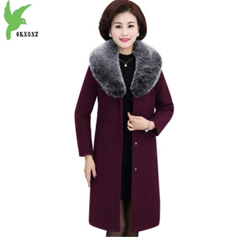 Здесь продается  OKXGNZ Plus size 5XL Women Winter Woolen Coat New Fashion Boutique Fur collar Outerwear Thick Warm Middle-aged Woolen Coats Q069  Одежда и аксессуары