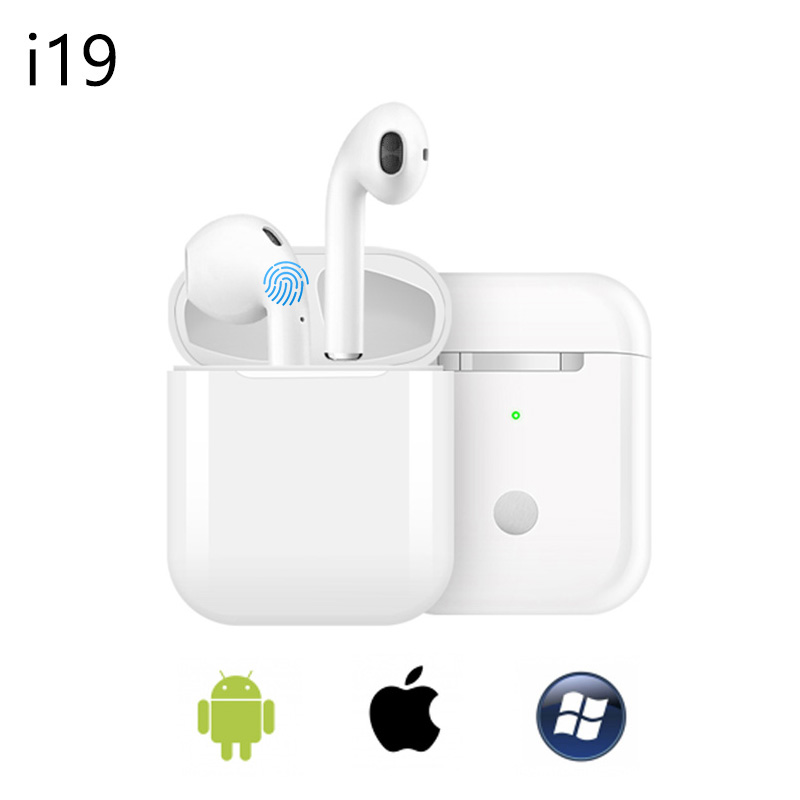 I19TWS wireless headset Bluetooth 5.0 smart touch in-ear stereo with microphone charging box 1:1 for Apple Android Huawei phonesI19TWS wireless headset Bluetooth 5.0 smart touch in-ear stereo with microphone charging box 1:1 for Apple Android Huawei phones