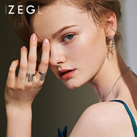 ZEGL rings for women two in one chain joint ring gothic simple personality index dainty ring stackable rings