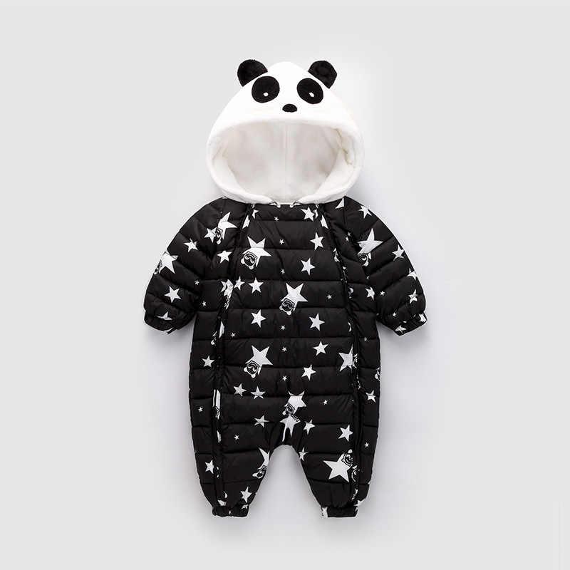 69145a8397e ... 2018 Winter Panda Baby Rompers Overalls Bodysuit Jumpsuit Newborn Girl  Boy Duck Down Snowsuit Kids infant ...