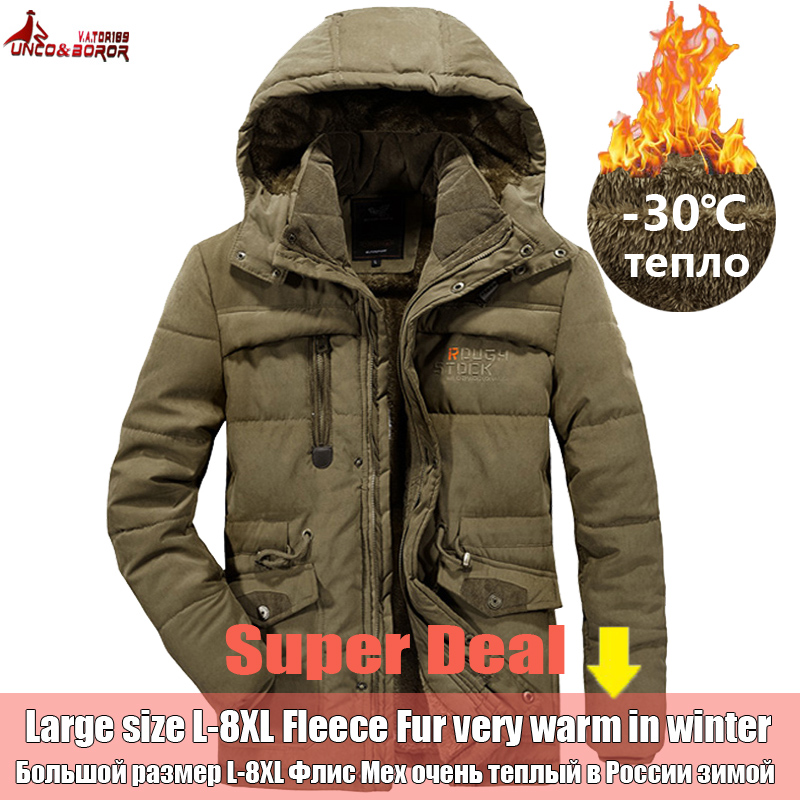 UNCO & BOROR Winter Jacke Männer Outwear Atmungsaktive 7XL 8XL windjacke männlichen Multi-tasche parka Mantel fleece militär haube mantel