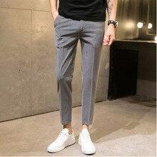Летние и осенние новые полосатые M-4XL тонкие повседневные мужские укороченные брюки индивидуальность модные популярные простые классические городские Молодежные