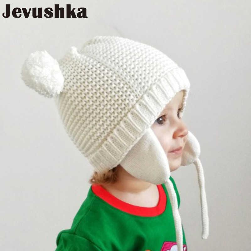 Winter pompom หมวกเด็กสำหรับเด็กสาวเด็กชายหมวกถัก beanie skullies boy เครื่องบินทิ้งระเบิด caps กับซับขนแกะทารกแรกเกิดการถ่ายภาพ HT044
