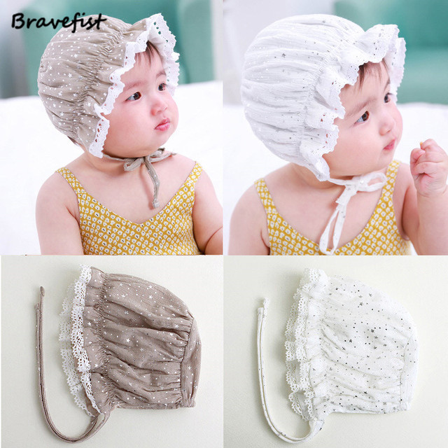 cc9cb14ce64 0-24Months Summer Newborn Baby Girl Princess Hat Lace-up Sequins Baby  Bonnet Enfant Sleep Cap With Stars Print 100% Cotton Caps