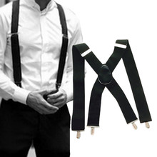 3 Color Width English Alphabet Suspenders Elasticity Leather Stitching 6 Clip