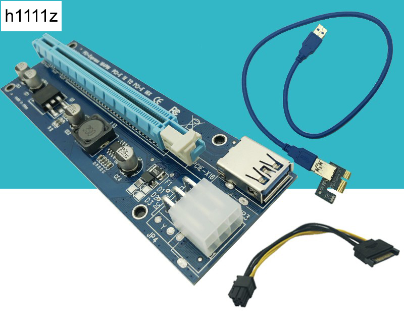 USB 3.0 PCI-E Extender Riser Card PCI Express 16X Adapter 60cm SATA 15Pin to 6Pin Power Cable Cord for Bitcoin BTC Mining Tool 60cm usb 3 0 pcie riser card pci e express 1x to 16x extender riser card usb adapter sata 15pin 6pin power cable for btc mining
