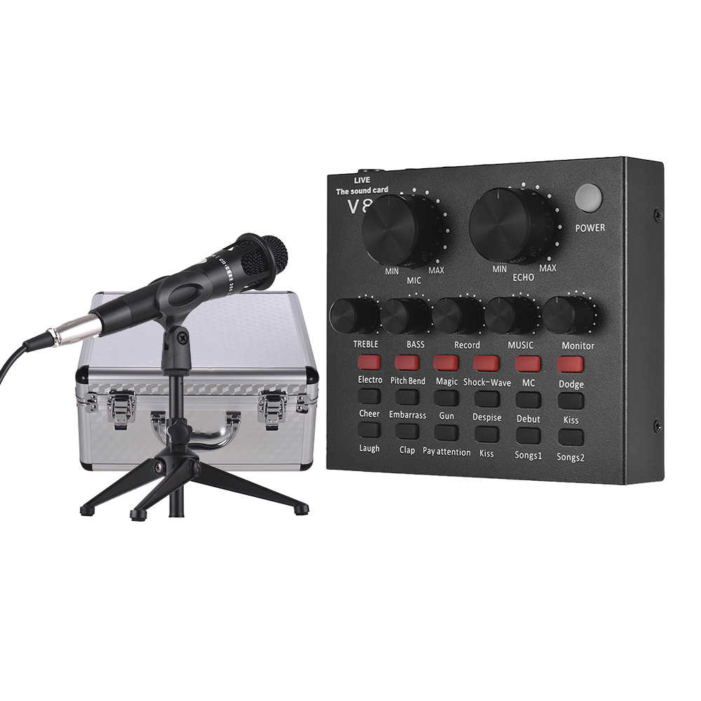 External Sound Card USB Audio Interface + Wired Condenser Microphone + Microphone Desktop Tripod Stand + Monitor Earphone