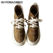 HUIFENGAZURRCS-Genuine Leather and ankle warm boots, Casual hand-made shoes, The retro art mori girl super soft shoes,3 colors