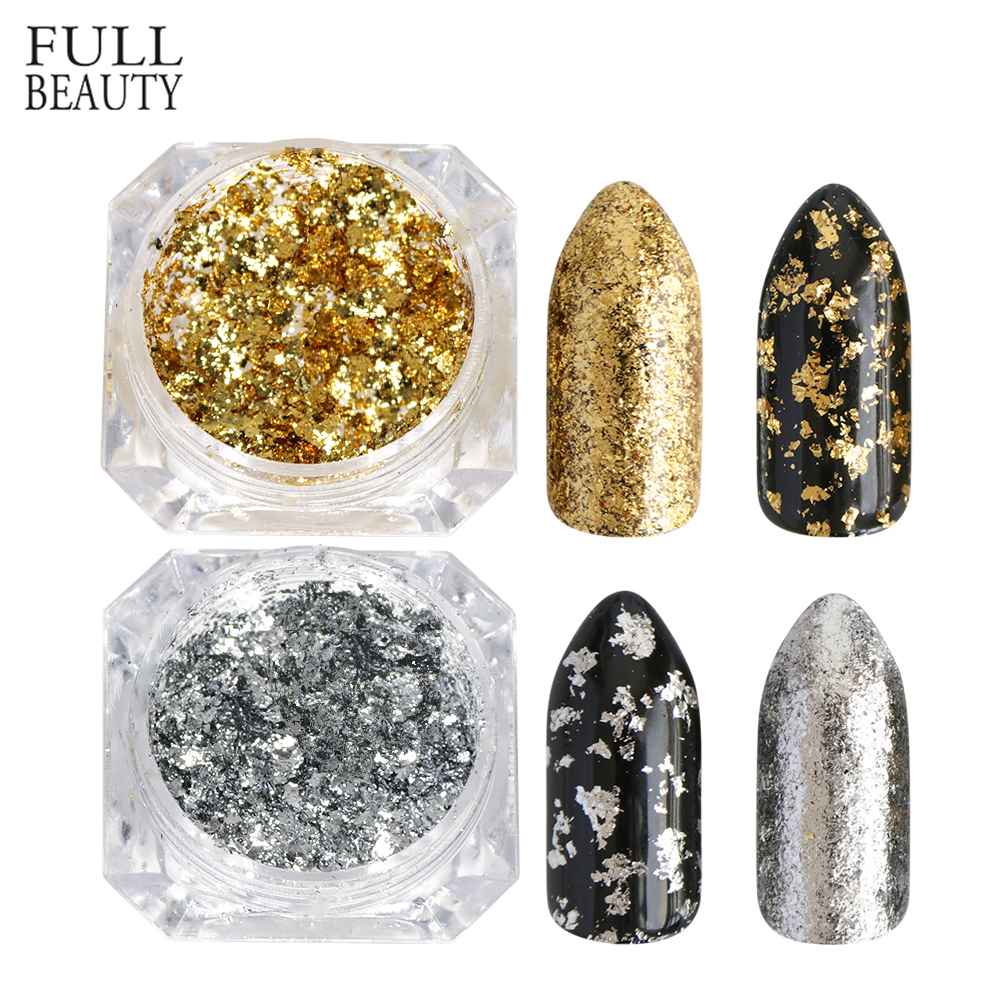 Full Beauty 1 PCS Aluminum Golden Silver Nail Glitter Powder Irregular Mirror DIY Nail Art Decoration Sticker Flake CHCB01-02