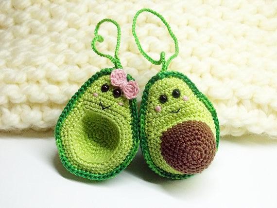 Crochê brinquedos amigurumi abacate amantes