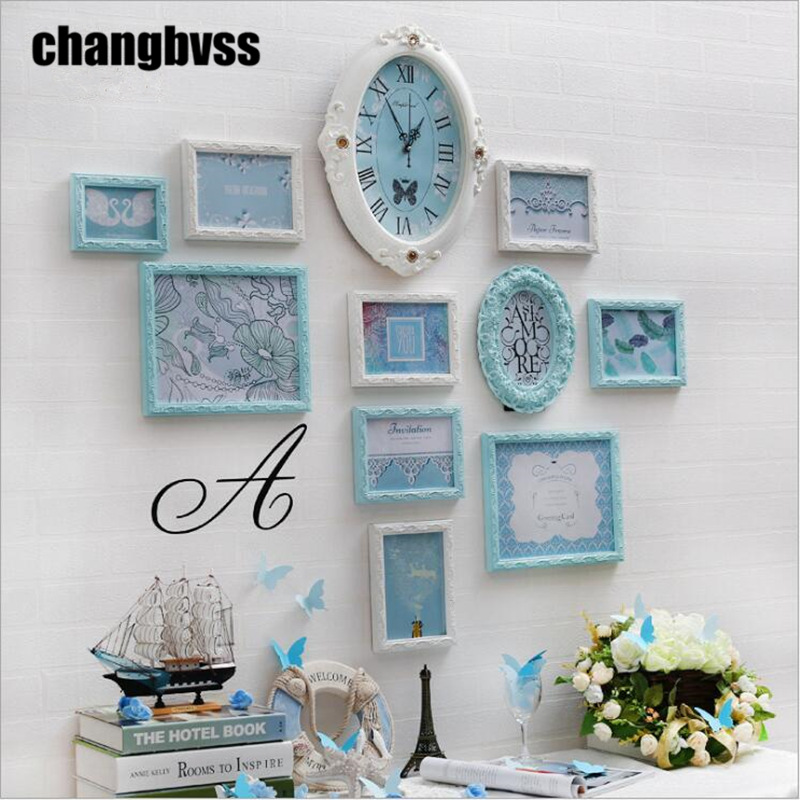 10 pcs set photo frames one clock wall hanging picture frame set creative wood frame for home - Creative home decorations set ...
