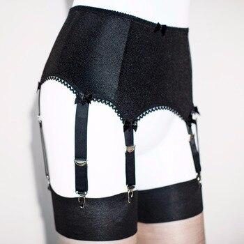 6 STRAP PLAIN BLACK SUSPENDER BELT ,garter