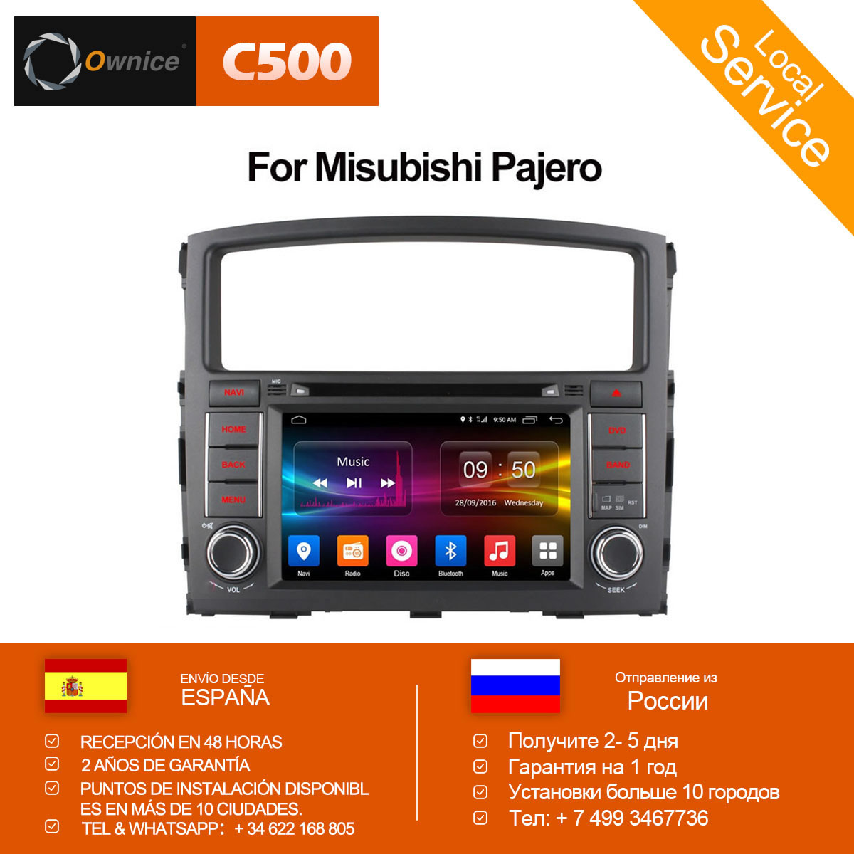 Ownice C500 Octa 8 Core Android 6.0 Per MITSUBISHI PAJERO V97 V93 2006-2015 Car DVD Player GPS Navi supporto 4g DAB + TPMS 32g ROM