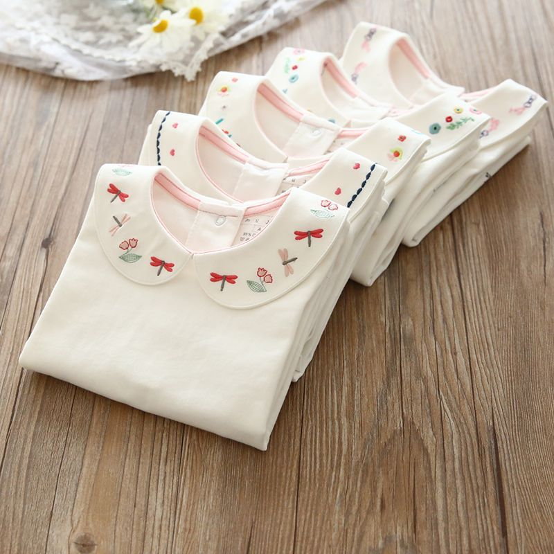kids girl Tshirts long sleeve children girl peterpan collar top tee