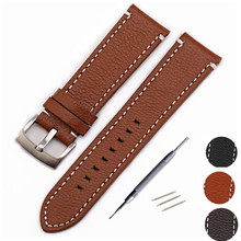 Genuine Cow Leather Strap Watch Bracelet With Buckle Cowhide leather Vintage band 20mm 22mm Watchband + Tool