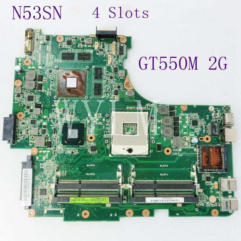 N53SN Mainboard GT550M 2GB N12P-GT-A2 4 Slots DDR3 For ASUS N53SN N53SV Laptop motherboard REV 2.2 100% Tested Working Well board for 250 044 901d 2gb dae lcc well tested working