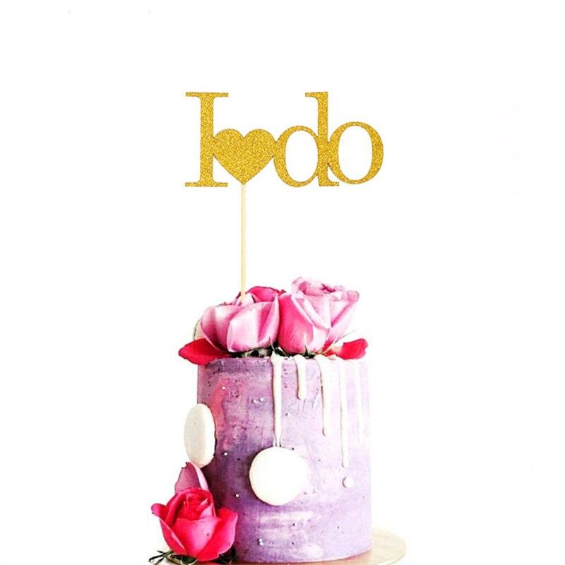 Baby Shower Favors 10pcs Love I DO Glitter Star Cupcake Topper Baker Bamboo Sign Wedding Birthday Party Cake Decor Supplies.8