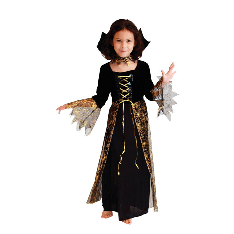5pcs/lot Hot Brown New Beautiful Spider Girl Children Cosplay Costume Hallowean Party witch Costumes for Kids Cute Dresses