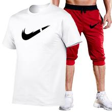 New Brand t shirt Men Sets Fashion Summer cotton short sleeve Sporting Suit T-shirt +shorts Mens 2 Pieces casual clothing