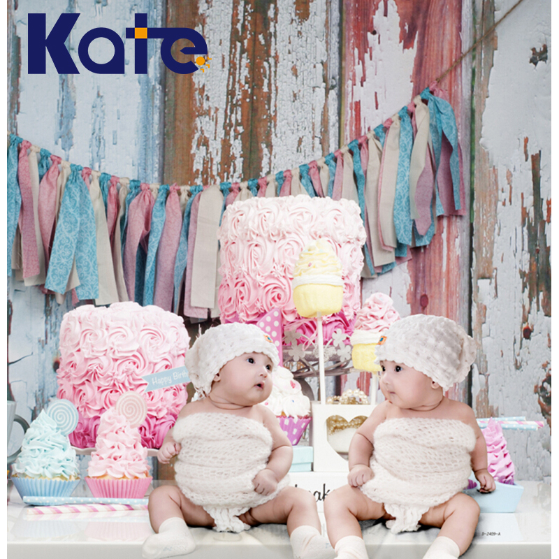 Kate Digital Pink Photography Backdrops Colorful Cake Birthday Background Wood Floor For Children Photo Photographic Studio kate wood photography microfiber background christmas theme snowman photographic backdrops for children studio photo props